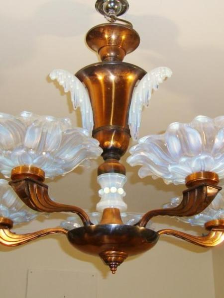 French copper five-branch art deco chandlier, circa 1935