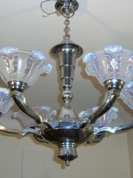 French chromed-brass art deco chandelier, circa 1930