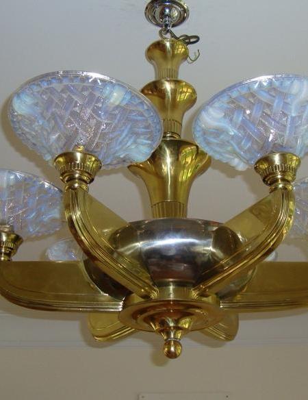 French brass & steel six-arm chandelier, circa 1935