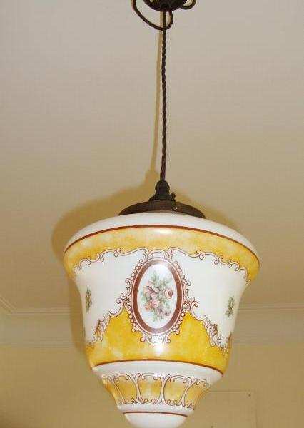 """Supastone Painted"" English opaline-glass lantern, circa 1935"
