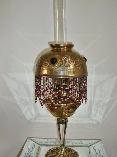 French art nouveau brass oil-lamp, circa 1900