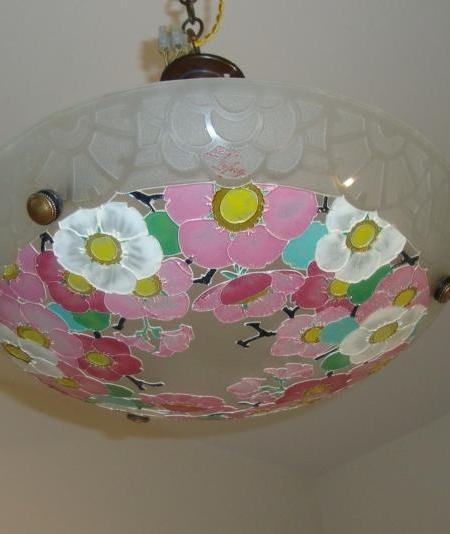 Loys Lucha art deco glass plafonnier, circa 1930