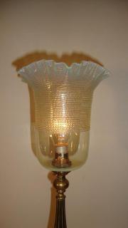 English trefoil cast brass table lamp, circa 1905