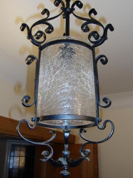 English neo-gothic wrought iron lantern, circa 1900