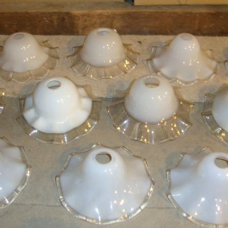 A collection of White Opaline Lampshades, C1920