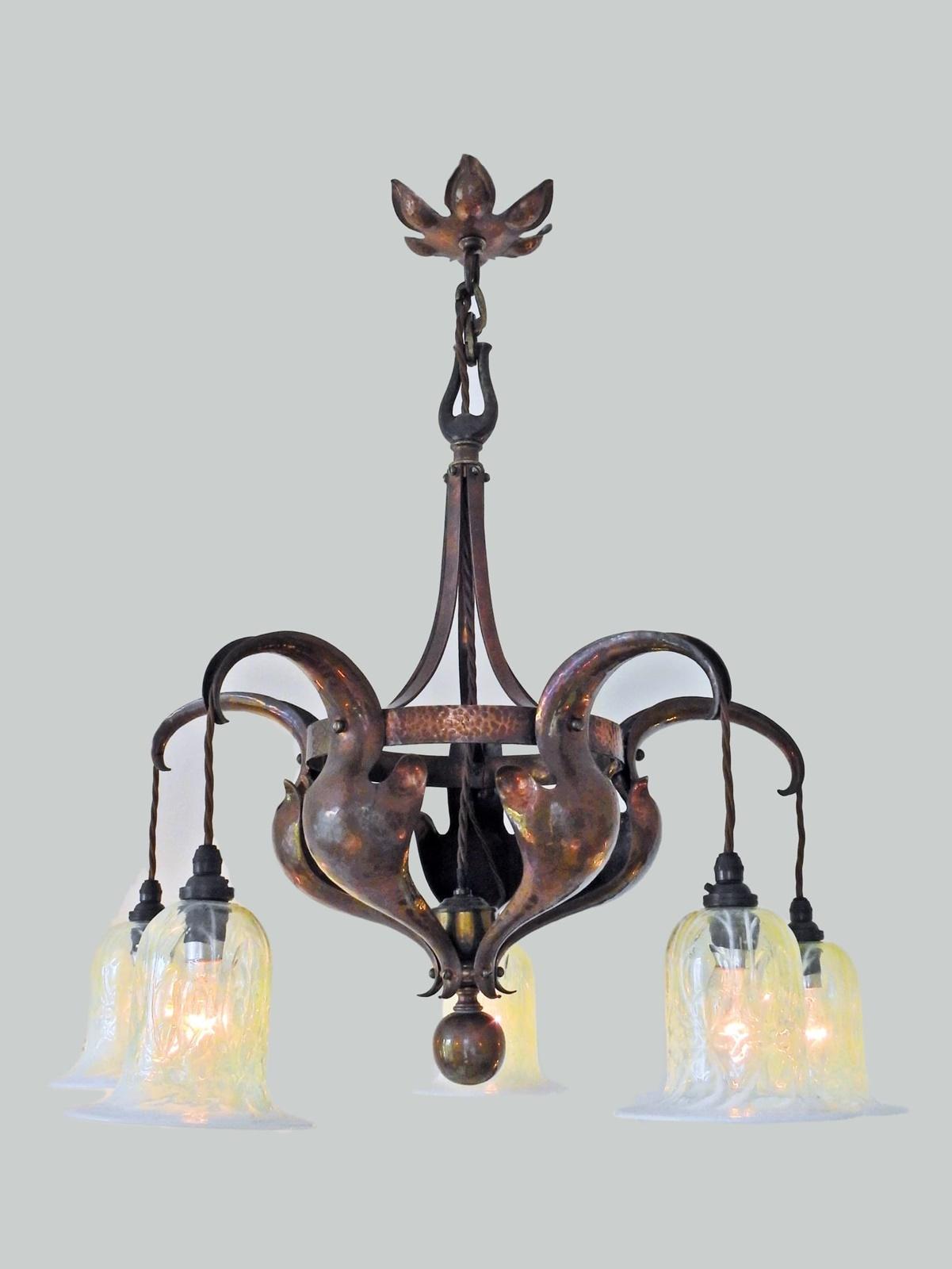 An arts crafts five branch chandelier english c1905 jones an arts crafts five branch chandelier english c1905 arubaitofo Gallery
