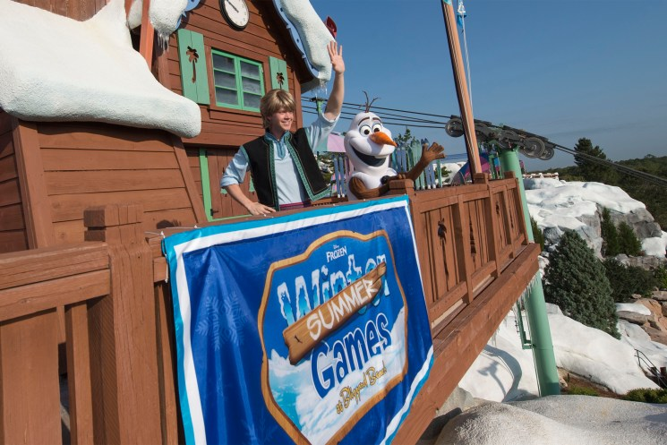 Kristoff & Olaf Host Frozen Games At Disney's Blizzard Beach Water Park