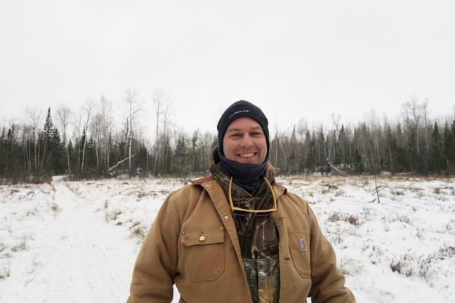 Dad in the Bog Dog Sledding