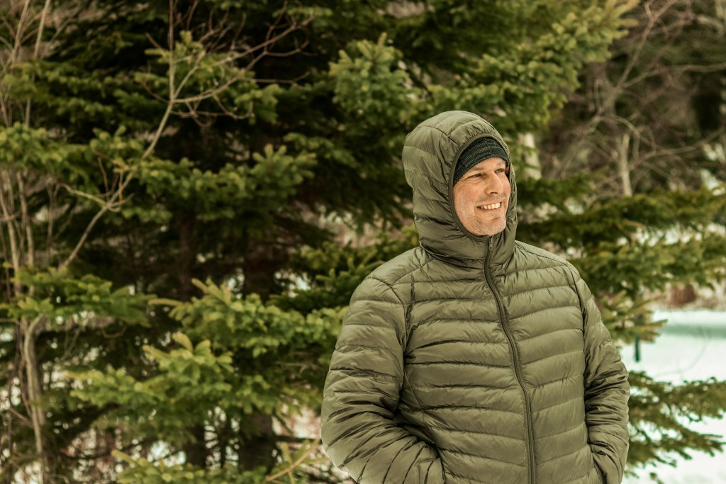 puffy down jacket with hood