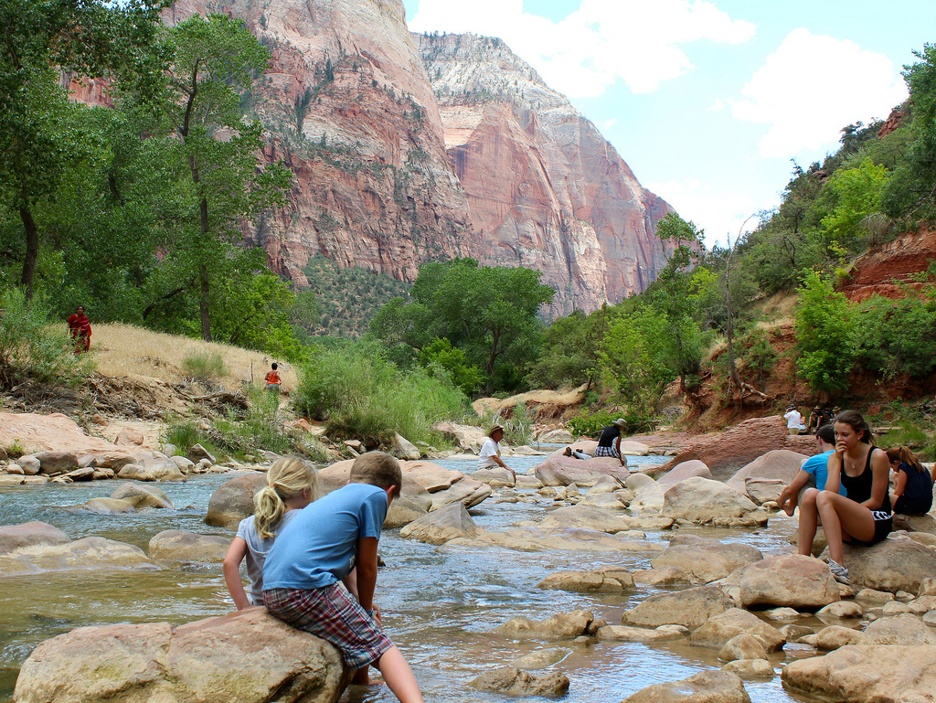 Zion Hikes Cooling Off in the Virgin River
