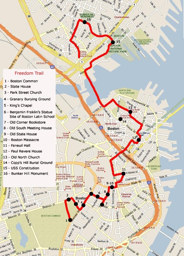 Top Things to Do in Boston: Freedom Trail Map