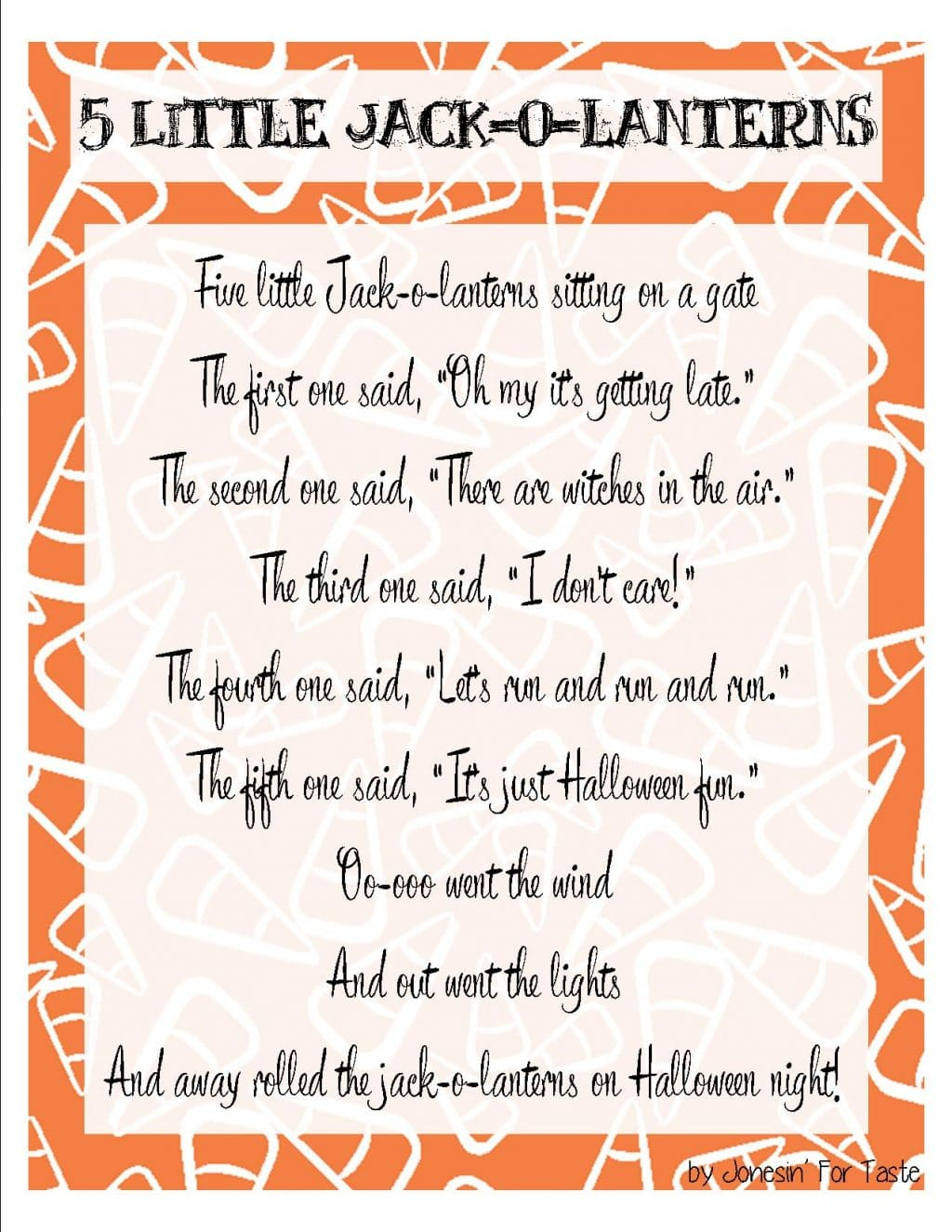 Five Little Jack O Lanterns Halloween Printable