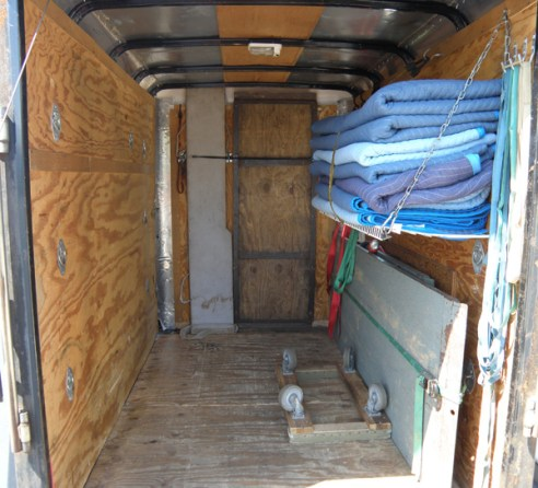 Interior of custom piano moving trailer.