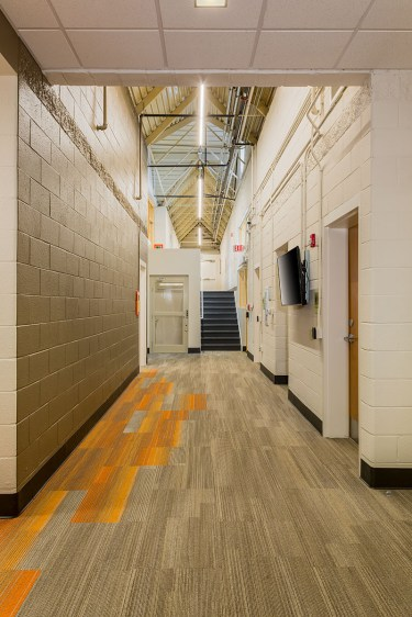 Hallway at rear building with lift