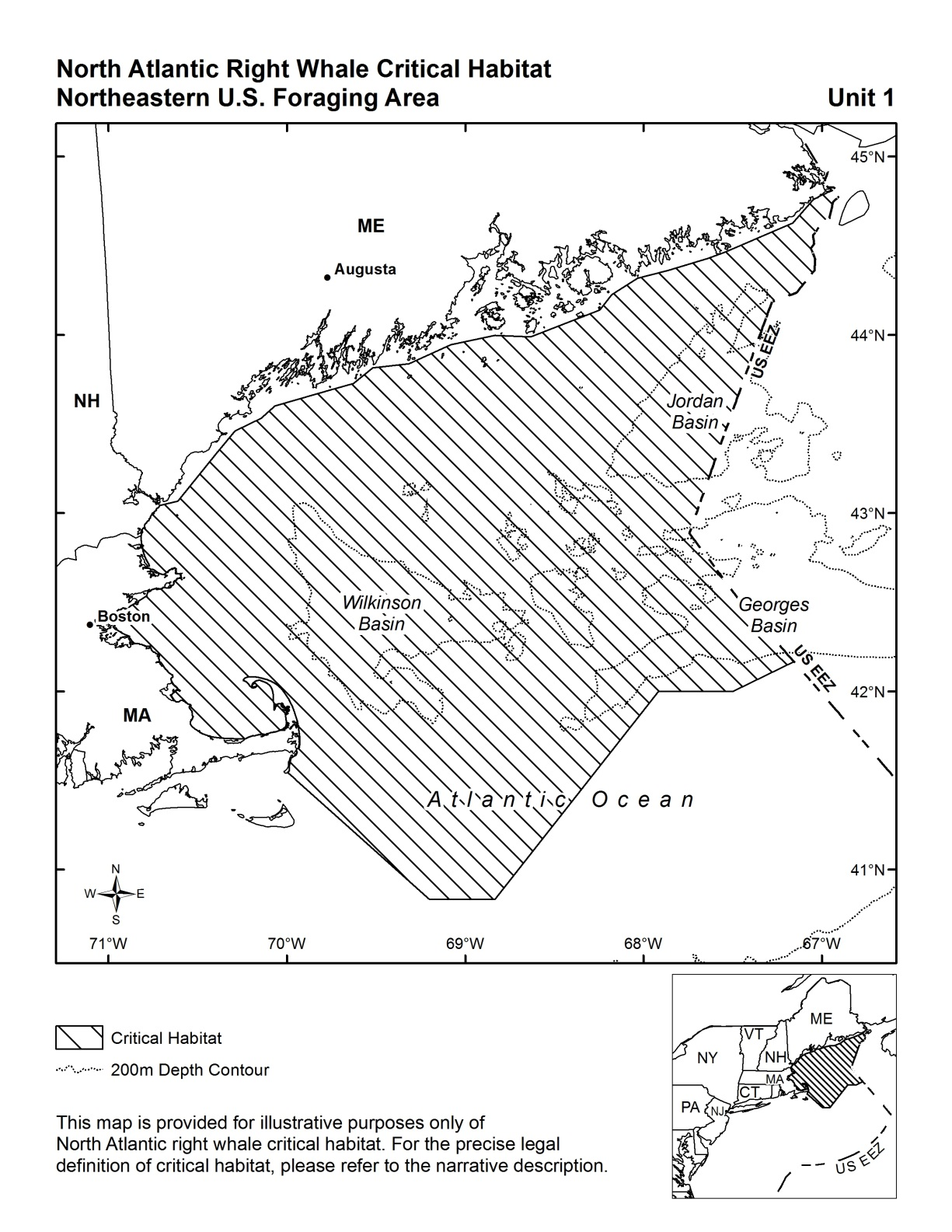 hight resolution of north atlantic right whale critical habitat in the northeast including cape cod bay