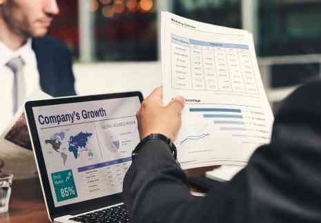 Businessman working on company growth