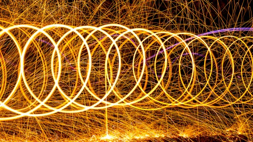 loops made with burning steel wool