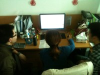 David, Ada, and Justin working on the new school newsletter, of which I am Editor In Chief. AKA I'm delegating