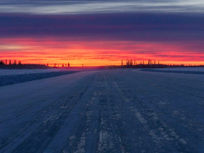 Sunrise on Ice Road to Tuktoyaktuk