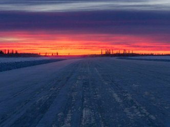 Sunrise on the Ice Road to Tuktoyaktuk