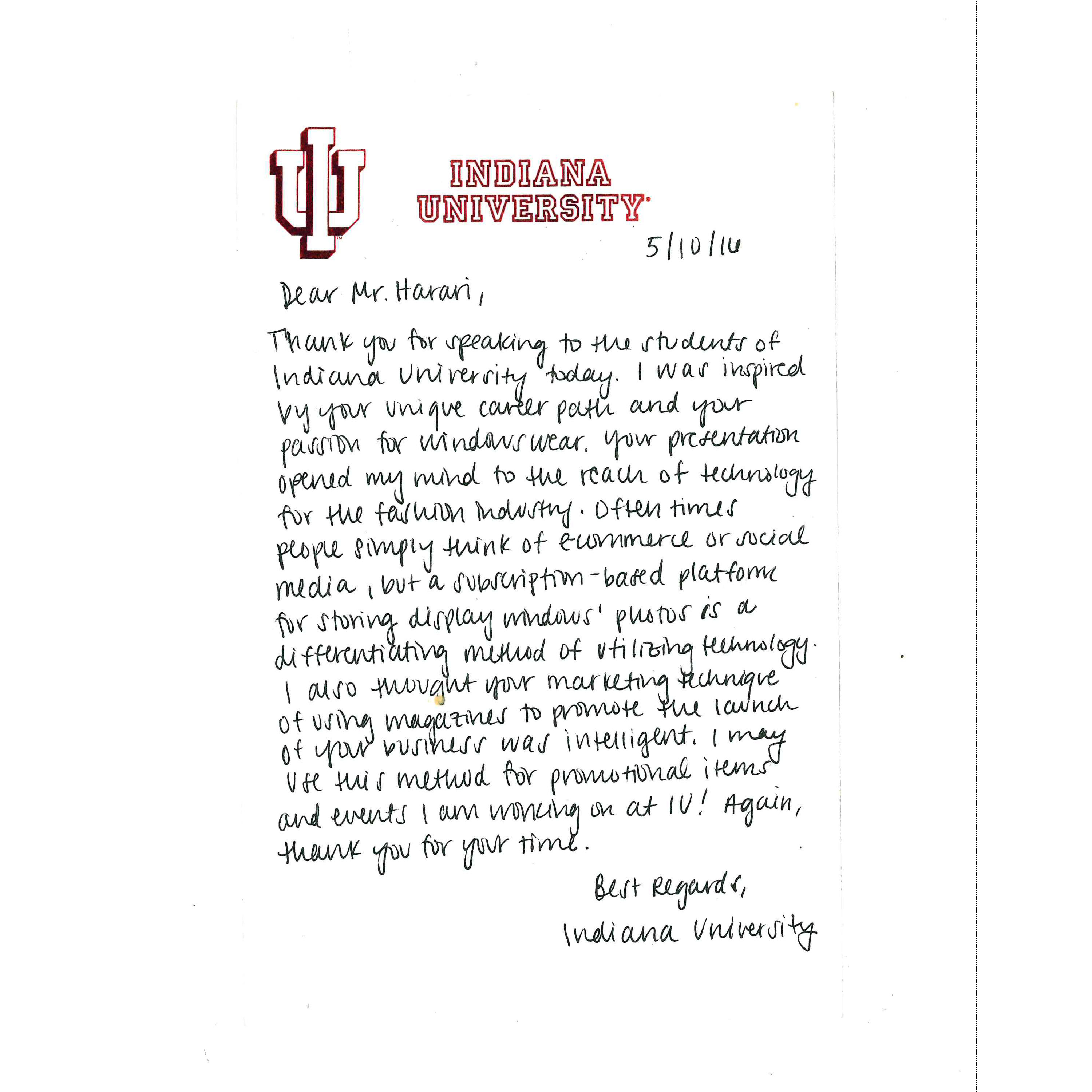 Thank you for the thank yous these are some of the best thank jon harari indiana university thank you letter 3 aljukfo Image collections
