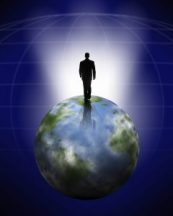man on top of world