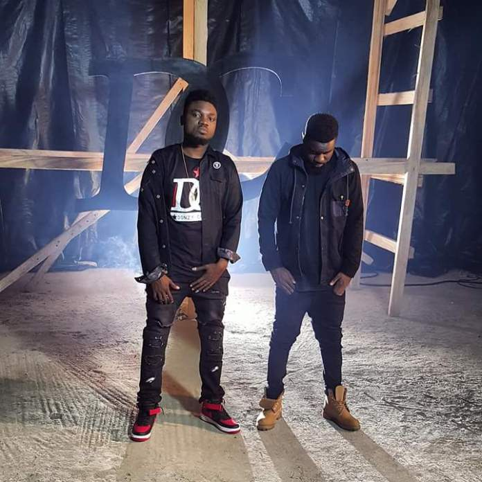 Donzy and Sarkodie on set during 'Club' video shoot