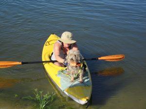 paddling woman with dog