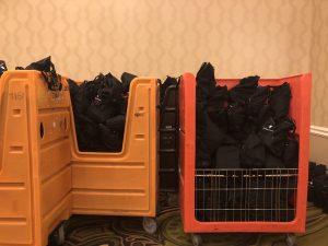 Bouchercon book bags in carts