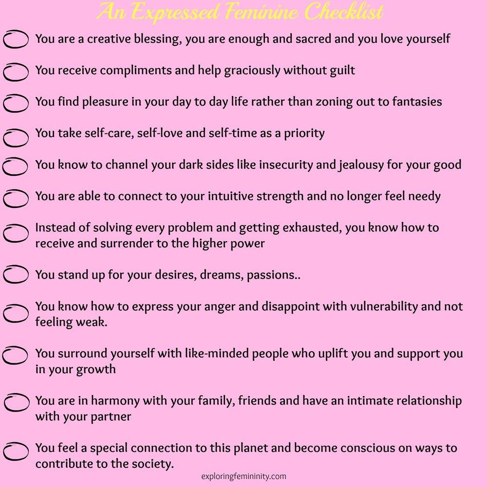 Jonita Dsouza - Exploring Femininity - Expressed Feminine Checklist