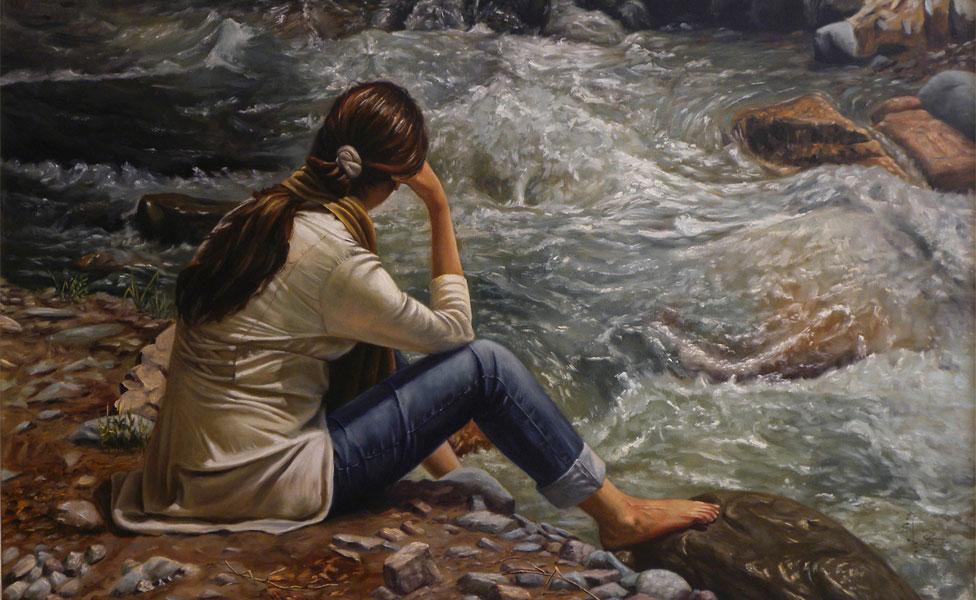 Nelej as'ras upes krastā