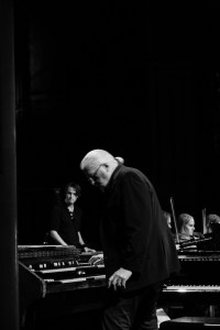 Jon Lord with Magnus Johansen in the background