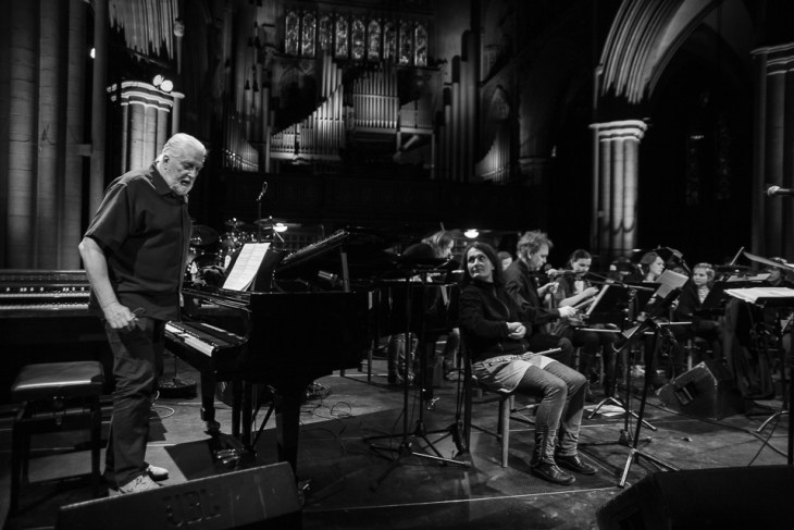 Jon Lord steps down from the grand piano at the end of the rehearsals.