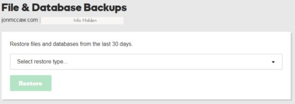 Start a WordPress Blog -Backup screen