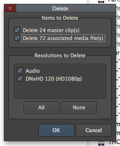 Deleting Duplicate Media Files in Avid