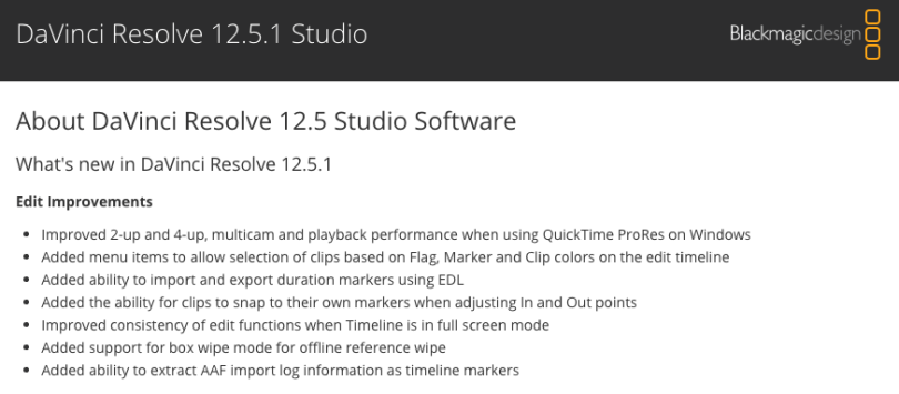 new features in resolve 12.5.1