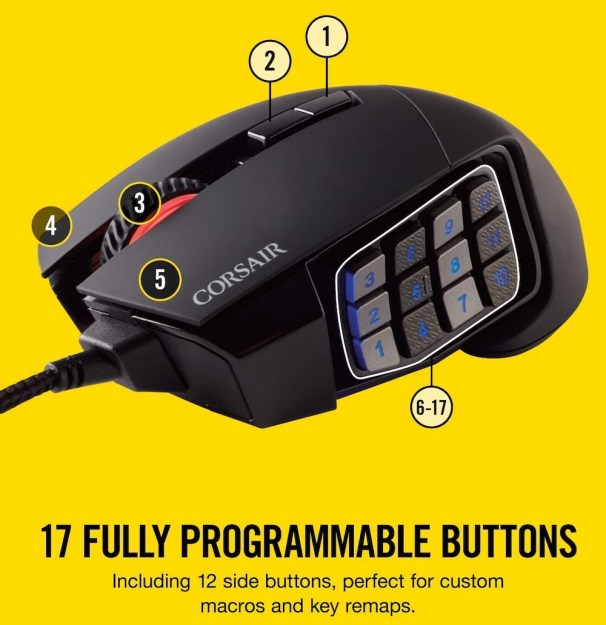 best mouse for film editing corsair scimitar pro elite