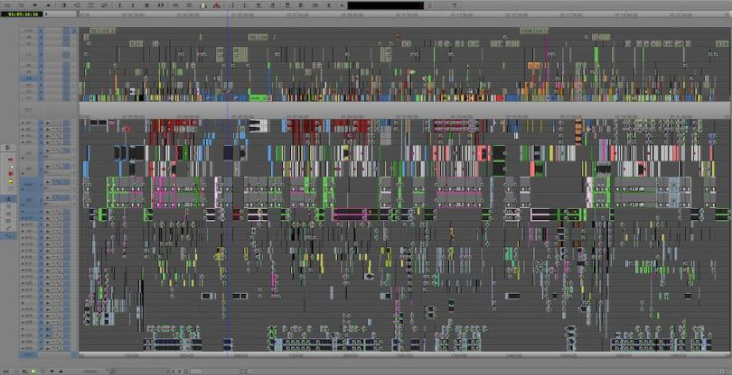 Messy film editing timeline