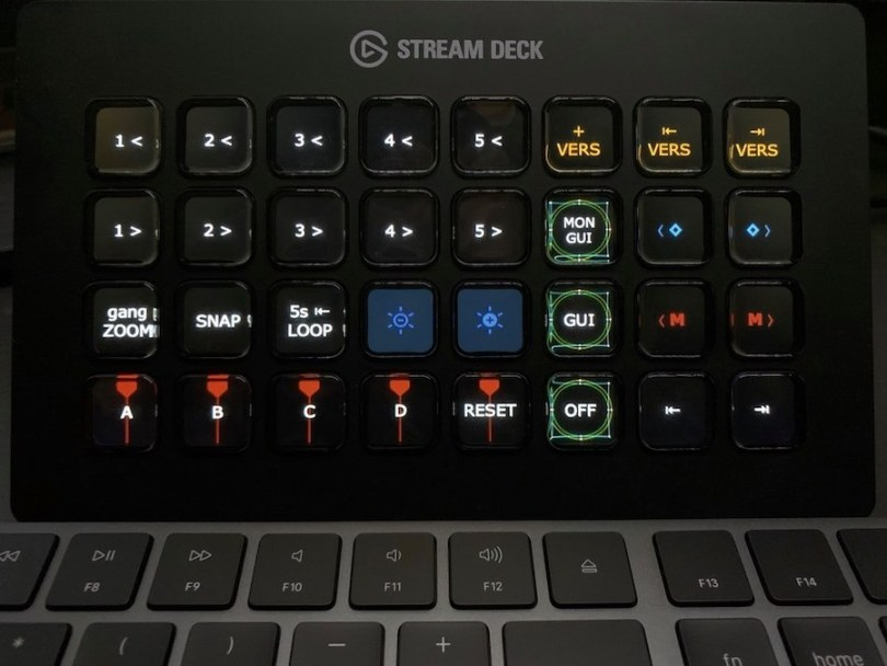 stream deck set up for colour grading