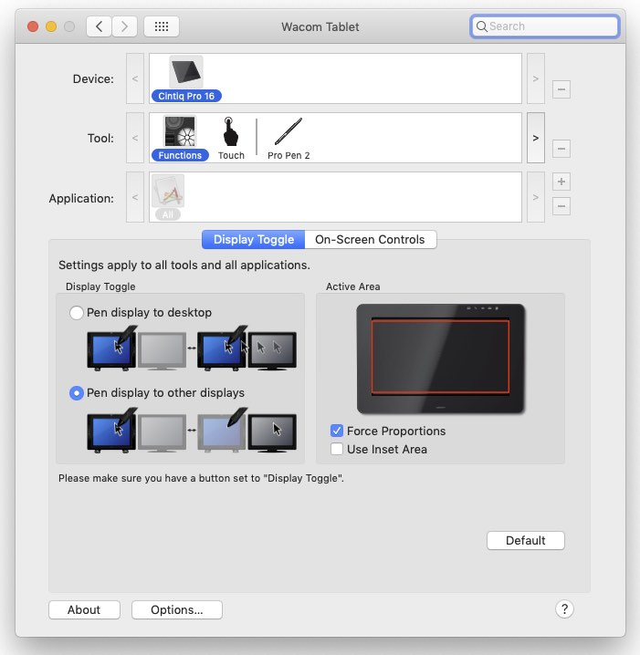 Wacom Cintiq Pro 16 - Display toggle settings