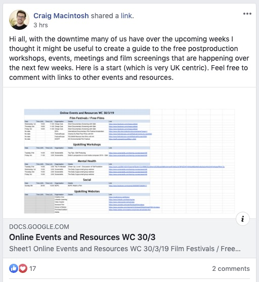Free post production online events 2020