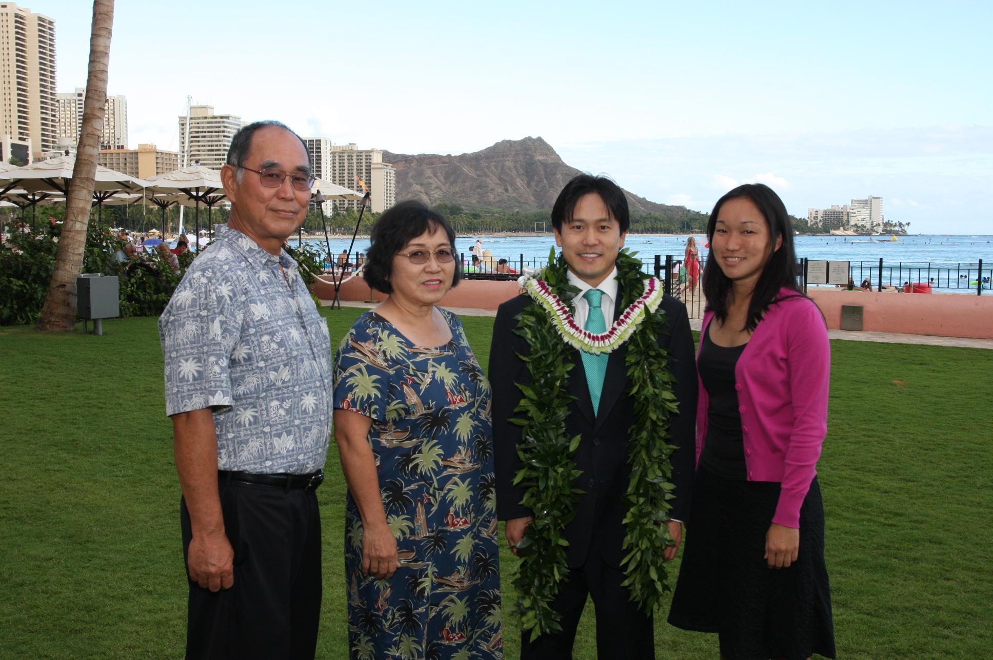 Richard Karamatsu (Jon's father), Laraine Karamatsu (Jon's mother), Rep. Jon Riki Karamatsu, and Lara Karamatsu (Jon's younger sister)