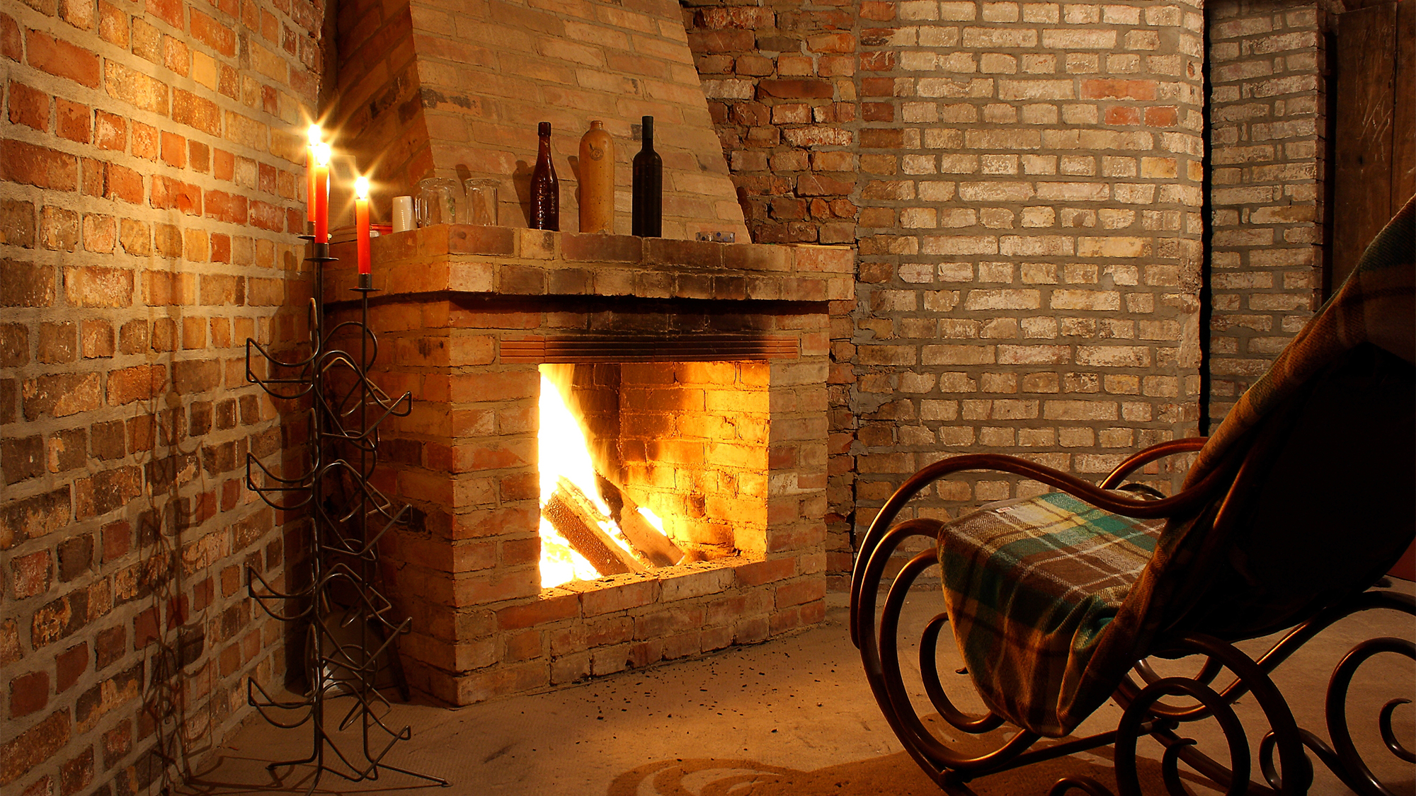 Brick Fireplace With Tile Hearth