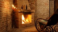 Brick Fireplace With Tile Hearth - Decorating Interior Of ...