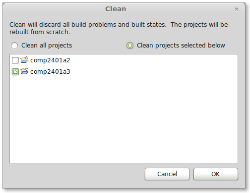 eclipse clean project
