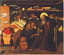 Jerome in his study, chilling with a murderous beast