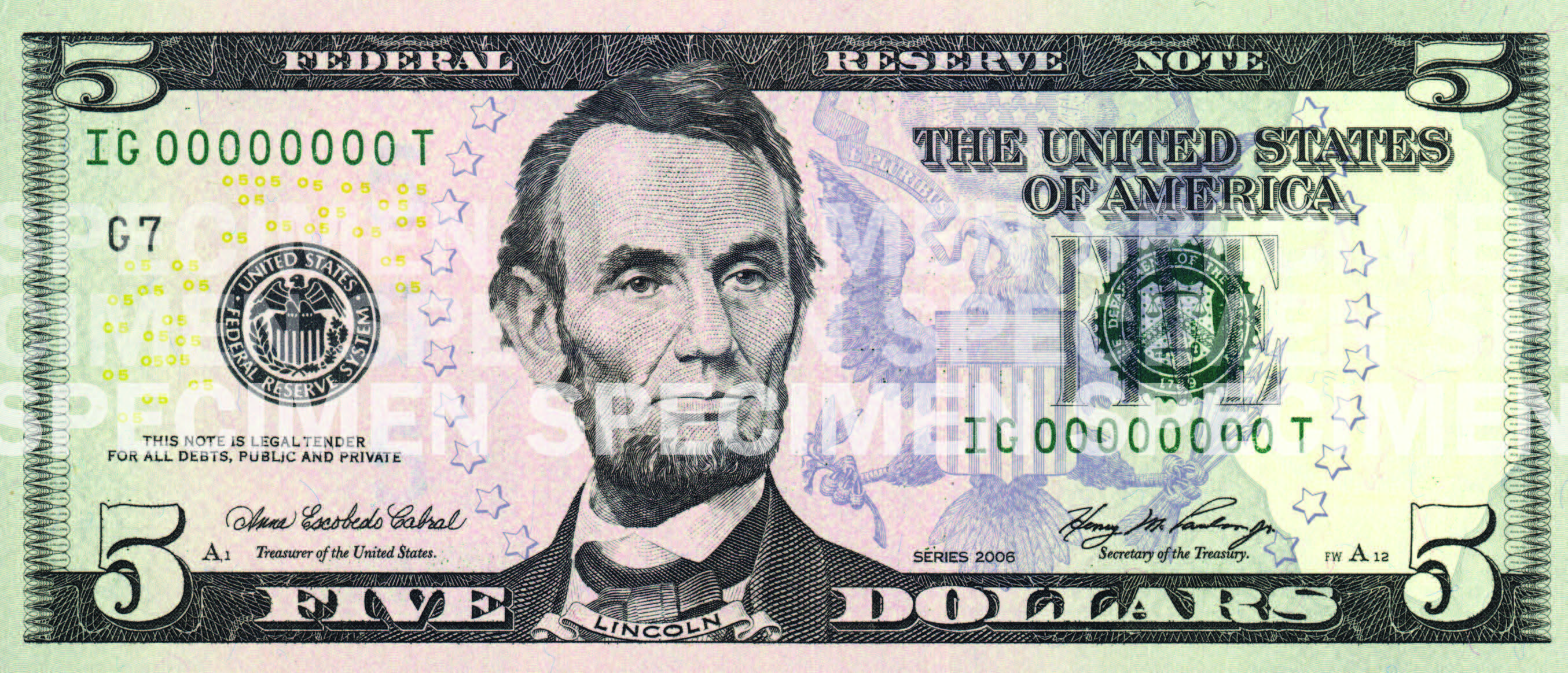 Free Photo Five Dollar Bill