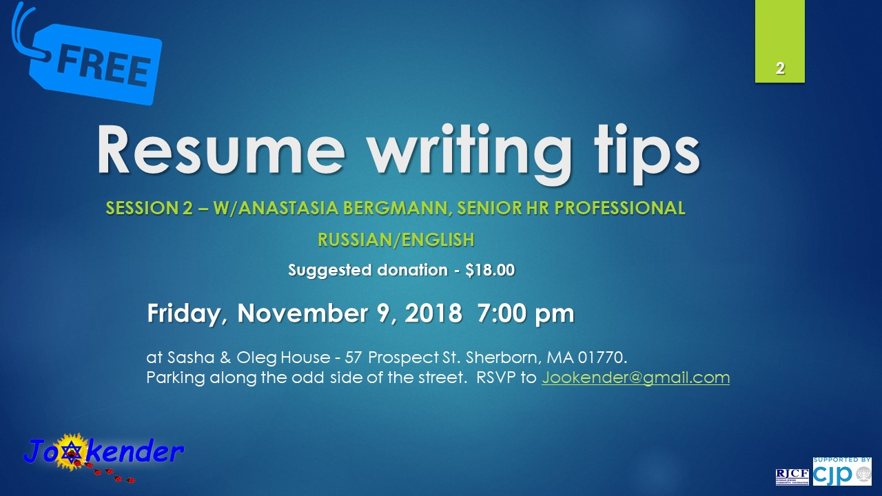 Resume Writing Tips Resume Writing Tips Session Two With Anastasia Bergman