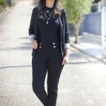 Look da Vez: Blazer, Óculos Espelhado e Sapatilha – All Black
