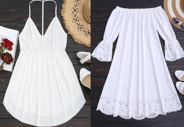 Vestidos Brancos Zaful 001 - Vestidos Diversos pra Desejar e Se Jogar Agora